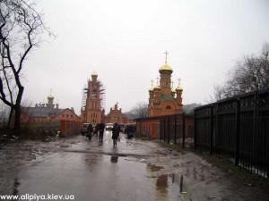 монастырь, киев, пейзаж монастыря, стройка монастыря, голосеево киев